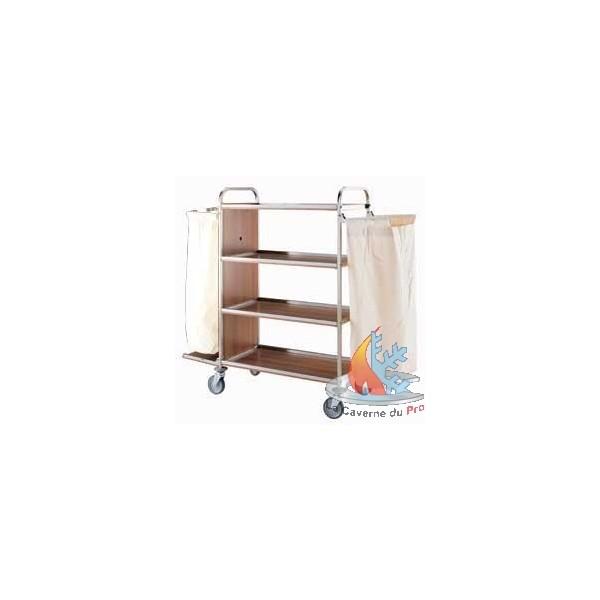 chariot linge en inox 4 niveaux avec 2 sacs linges. Black Bedroom Furniture Sets. Home Design Ideas
